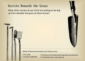 Comment card created for Secrets Beneath the Grass exhibition at Shaw House